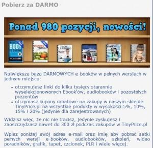 il: 980 e-booków za darmo czeka na każdego, kto zdecyduje zarejestrować się na stronie tinyprice.pl (źródło: tinyprice.pl)