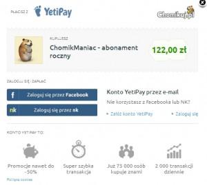 il.:oferta kupna konta premium na portalu Chomikuj.pl za pośrednictwem Yeti Pay pozostaje nadal najkorzystniejszym rozwiązaniem dla klientów. (źródło: chomikuj.pl)