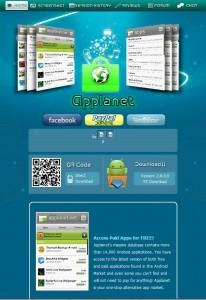 Strona główna applanet. net, jednej z trzech stron rozprowadzających aplikacje na Androida, zamkniętych przez FBI w sierpniu 2012 (źródło: webarchive)