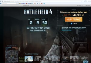 strona, na którą przekierowywała reklama Battlefield 4 umieszczona na chomikuj.pl (źródło: gamelive.pl)