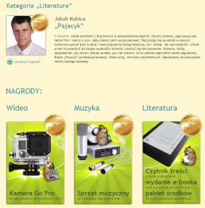 Lauterat literackiej kategorii konkursu - Jakub Kubica (źródło: chomikuj.pl)