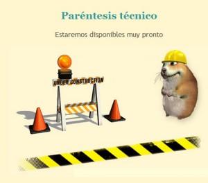 Il: komunikat o chwilowej przerwie technicznej na stronie Megahamster.es (źródło: megahamster.es)