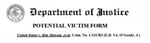 Nagłówek formularza do zgłoszenia roszczeń wobec megaupload.com, opublikowanego na stronie www.justice.gov