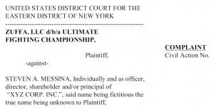 Nagłówek pozwu, Zuffa LLC vs Messina, złożonego 29 kwietnia 2014 roku w Sądzie Okręgowym w Nowym Jorku. fot. (US District Court)