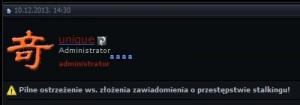 il: początek komunikatu administratora peb.pl. (źródło: peb.pl)