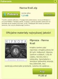 Pobierając nieautoryzowany przez wydawcę plik z książkami Hanny Kral otrzymujemy jednocześnie reklamę prowadzącą nas na stronę audioteka.pl (źródło: chomikuj.pl)