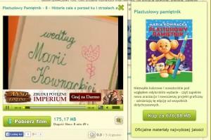 """il: Reklama """"Plastusiowego Pamiętnika"""" pojawia się między innymi przy odtwarzaniu pirackich kopii popularnej dobranocki. (źródło: chomikuj.pl)"""