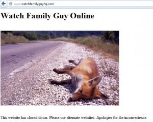 il: komunikat na zamkniętej stronie watchfamilyguyhq.com.